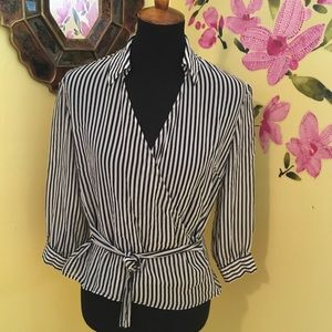 Limited Silk Sheer Wrap tie Blouse Size Large
